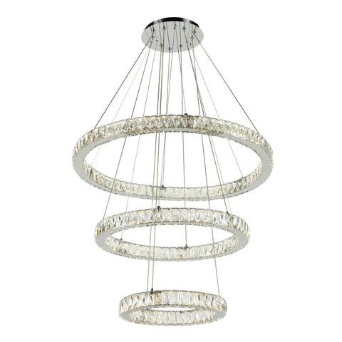 "Equis 32""w Triple Rings Pendant - Chrome Ceiling PLC Lighting"
