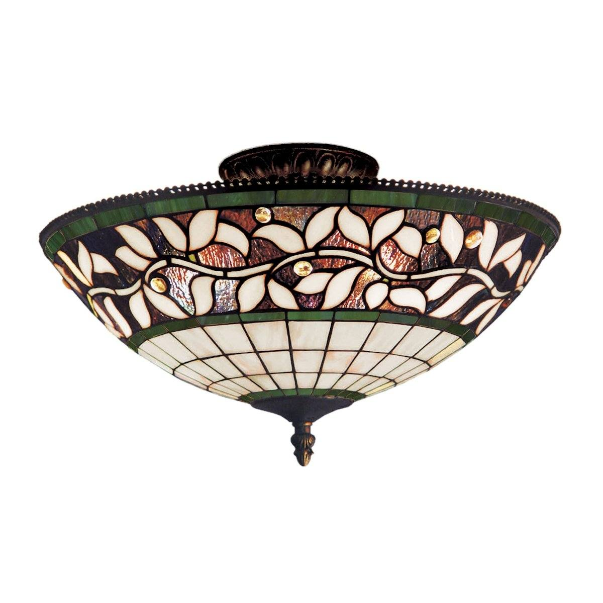 English Ivy 3 Light Semi Flush In Tiffany Bronze Semi Flushmount Elk Lighting