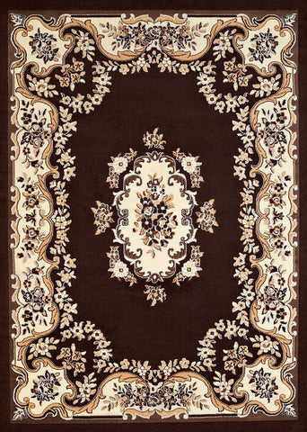 Cafe Classic Aubusson Dark Brown Rug - 4 Sizes Available