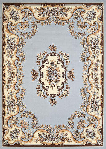 Cafe Classic Aubusson Blue Rug - 4 Sizes Available