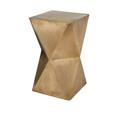 "Faceted 24""h Stool With Brass Cladding"