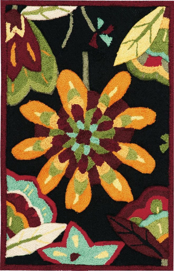 "Fantasy Black Rug - 6 Size Options Rugs Nourison 1'9"" x 2'9"" Mat"