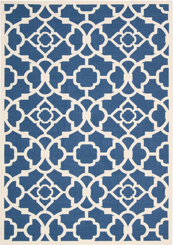 Waverly Sun & Shade Lovely Lattice Lapis Indoor/Outdoor Rug By Nourison 10' x 13'