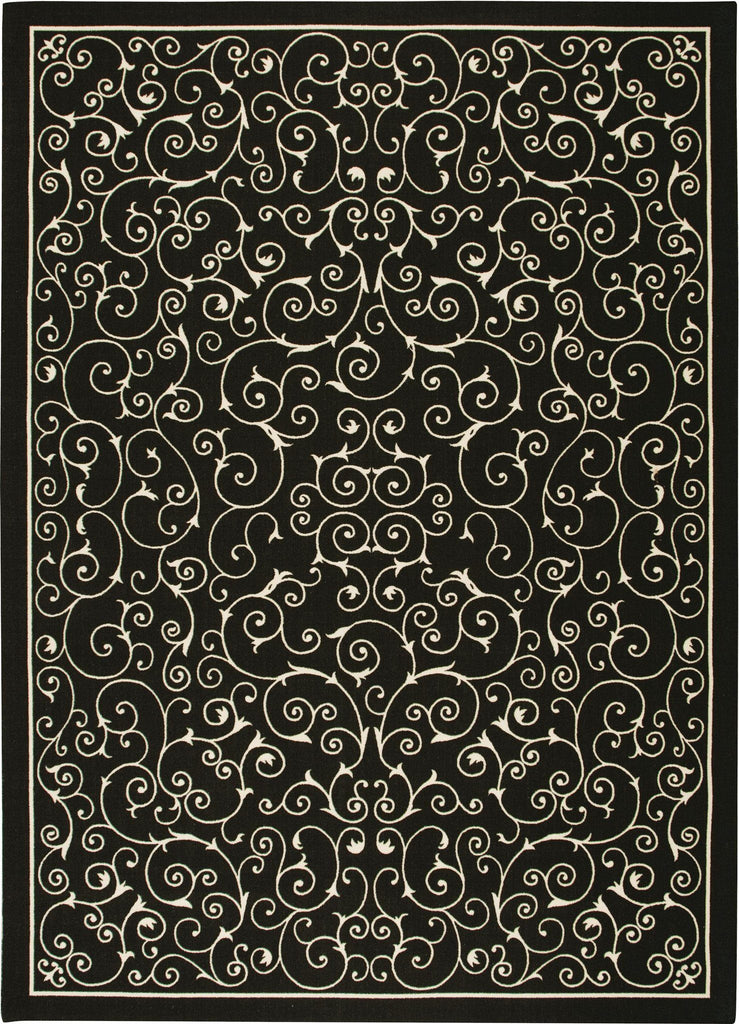 "Home & Garden Black Indoor/Outdoor Rug 5'3"" x 7'5"" Rugs Nourison"