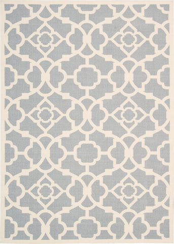 Waverly Sun & Shade Lovely Lattice Grey Indoor/Outdoor Rug By Nourison 10' x 13'