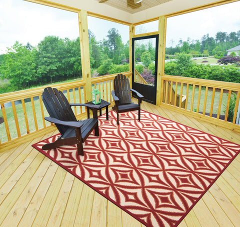 Waverly Sun & Shade Centro Campari Indoor/Outdoor Rug By Nourison 10' x 13'