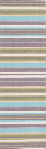 "Waverly Sun & Shade Paddock Shawl Platinum Indoor/Outdoor Rug By Nourison 1'10"" x 6'"