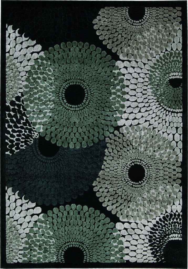 "Graphic Illusions Black Rug - 5 Size Options Rugs Nourison 2'3"" x 3'9"" Mat"