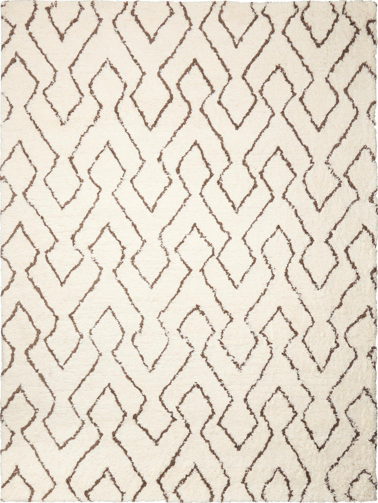 Galway Ivory/Chocolate Shag Area Rug 5' x 7' Rugs Nourison