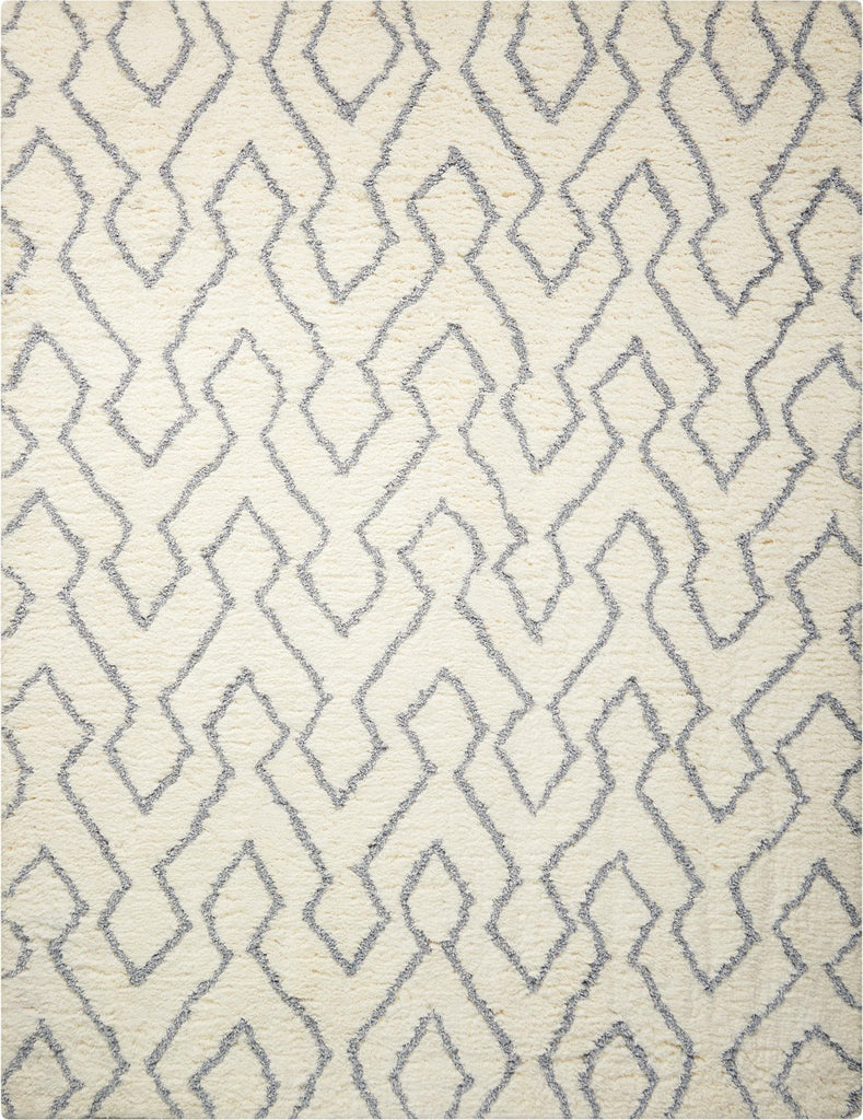 "Galway Ivory Blue Shag Area Rug 7'6"" x 9'6"" Rugs Nourison"