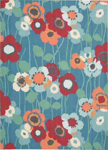 Waverly Sun & Shade Pic-A Poppy Blue Bell Indoor/Outdoor Rug By Nourison 10' x 13'
