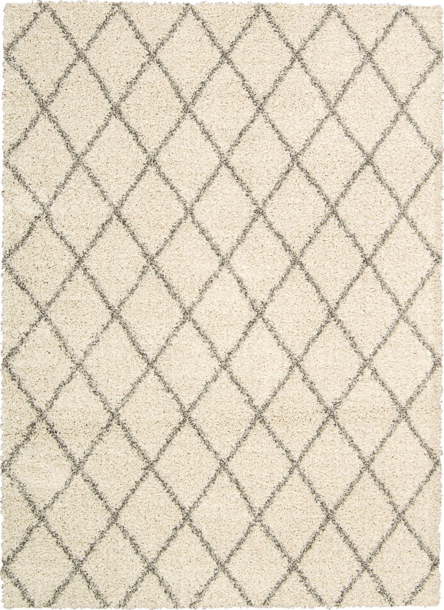 Brisbane Cream Shag Area Rug 5' x 7' Rugs Nourison Cream