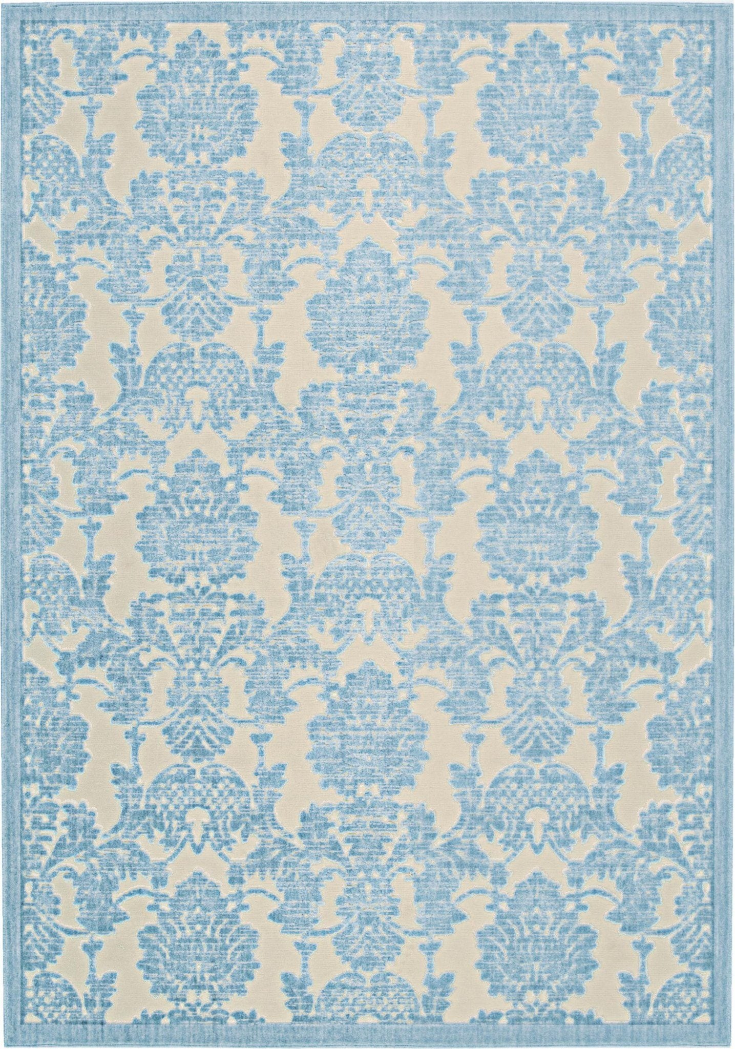"Graphic Illusions Ivory/Light Blue Rug - 5 Size Options Rugs Nourison 2'3"" x 3'9"" Mat"