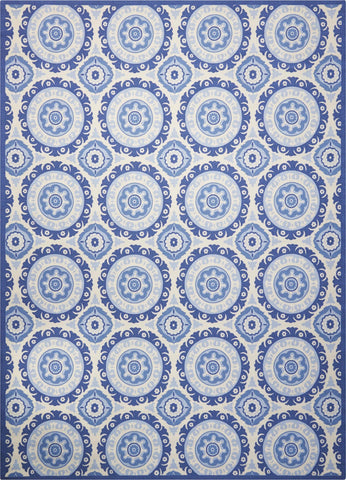 Waverly Sun & Shade Solar Flair Navy Indoor/Outdoor Rug By Nourison 10' x 13'