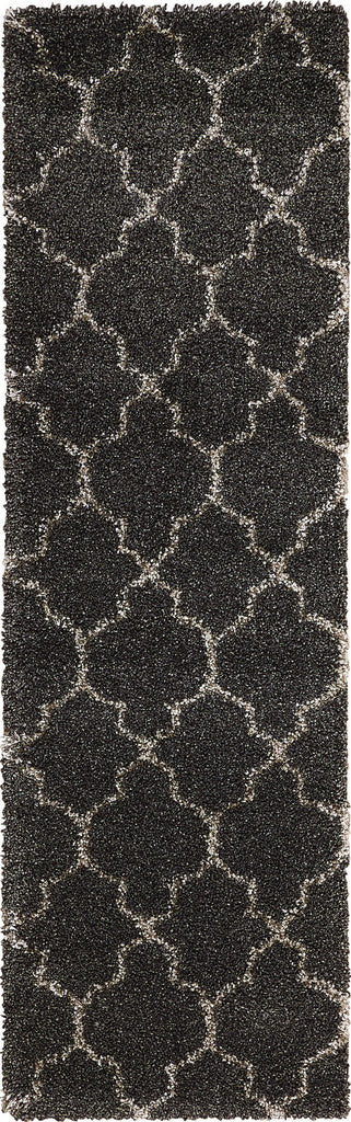 "Amore Charcoal Shag Rug - 12 Size and Shape Options Rugs Nourison 2'2"" x 7'6"" Runner"