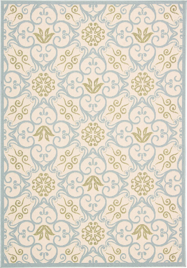 "Caribbean Ivory Blue Indoor/Outdoor Rug - 7 Size Options Rugs Nourison 1'9"" x 2'9"" Mat"