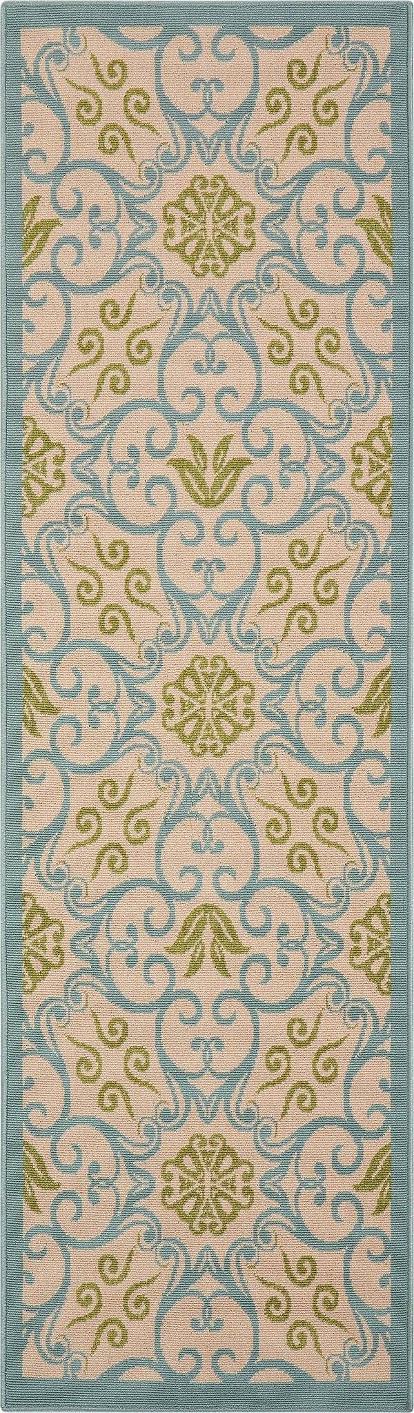Caribbean Ivory Blue Indoor/Outdoor Rug - 7 Size Options Rugs Nourison