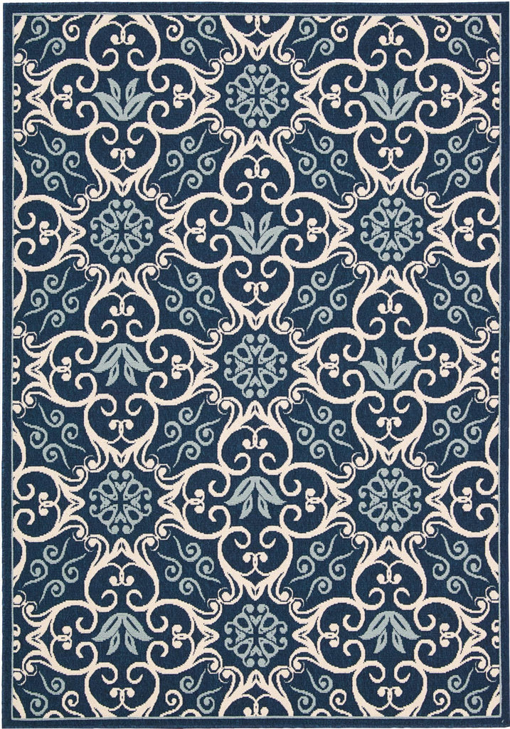 "Caribbean Navy Indoor/Outdoor Rug - 7 Size Options Rugs Nourison 1'9"" x 2'9"" Mat"