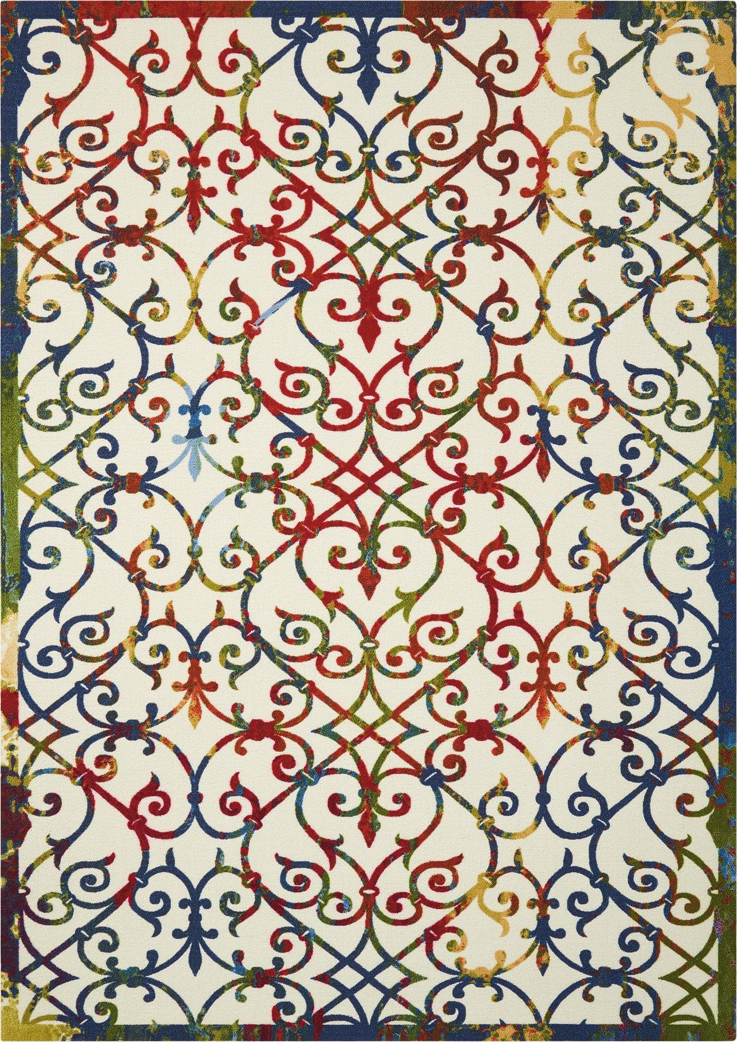 "Home & Garden Multicolor Indoor/Outdoor Rug - 4 Size Options Rugs Nourison 4'4"" x 6'3"" Accent"