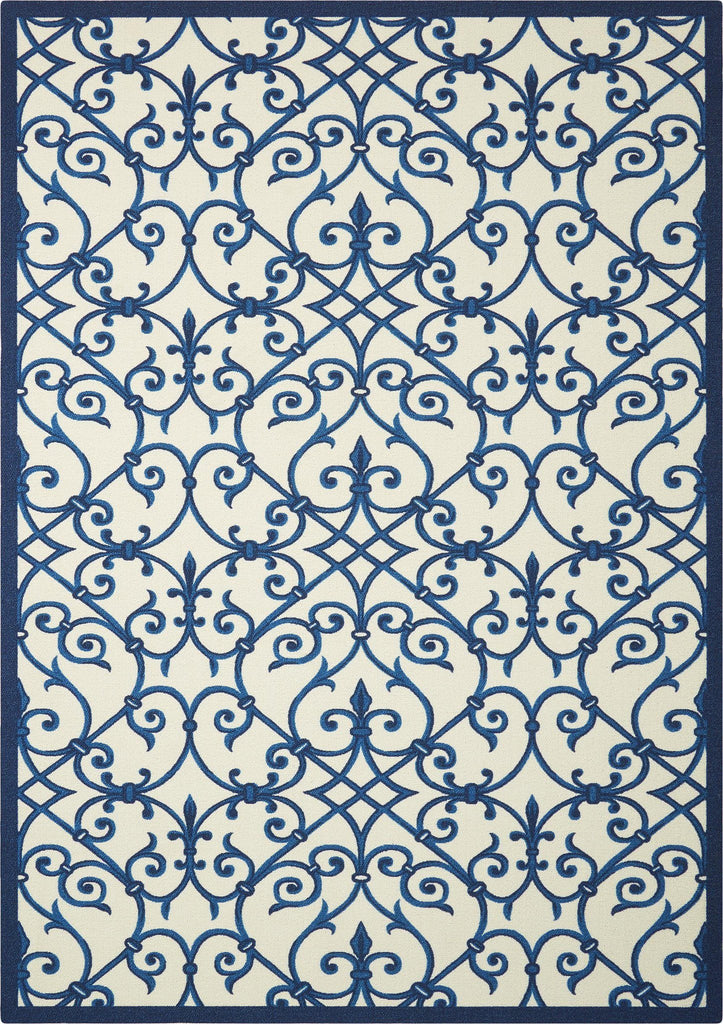"Home & Garden Blue Indoor/Outdoor Rug - 4 Size Options Rugs Nourison 4'4"" x 6'3"" Accent"