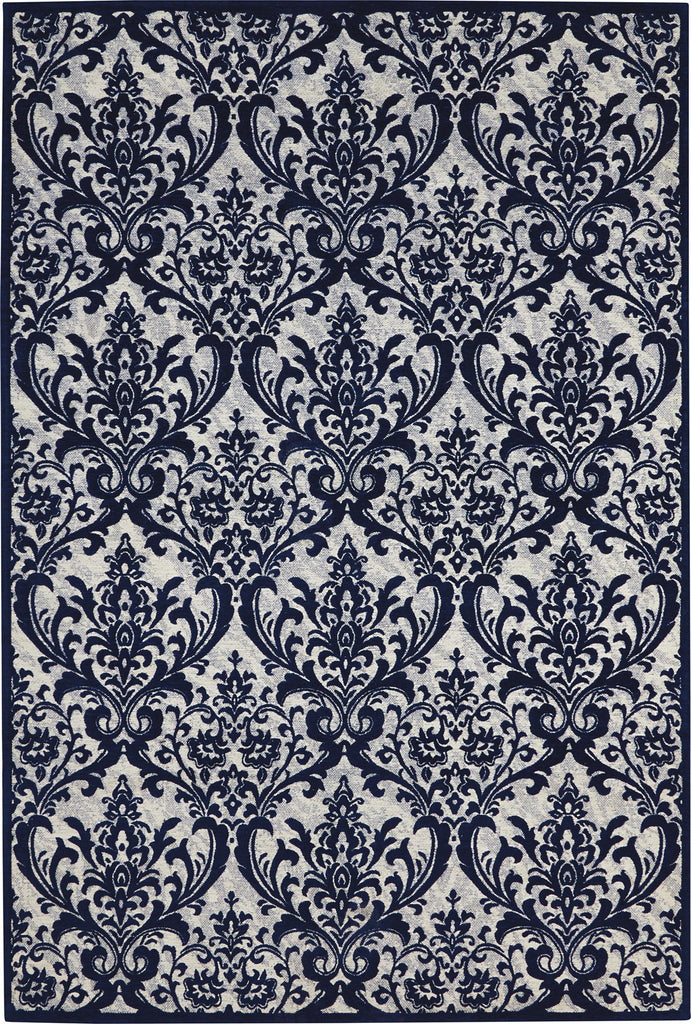 "Damask Ivory/Navy Rug - 3 Size Options Rugs Nourison 2'3"" x 3'9"""
