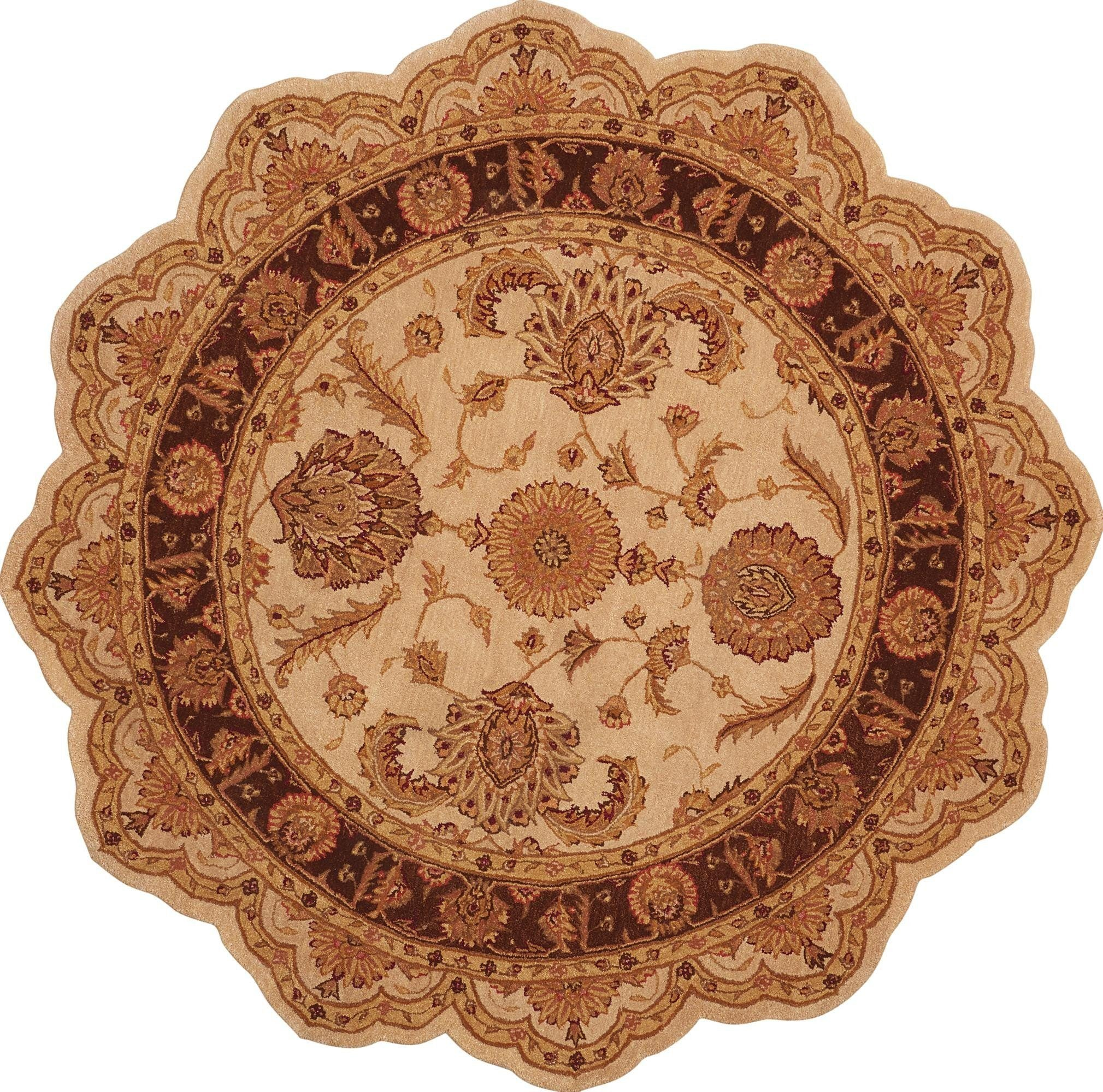 Heritage Hall Beige Rug - 2 Size and Shape Options Rugs Nourison 6' Scalloped Round