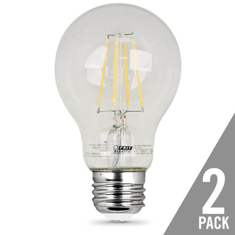 Feit Electric A19 Filament LED, 40 Watt Equiv., Non Dimmable, Clear, Medium Base, 450 Lumen, 2700K, 2 Pk