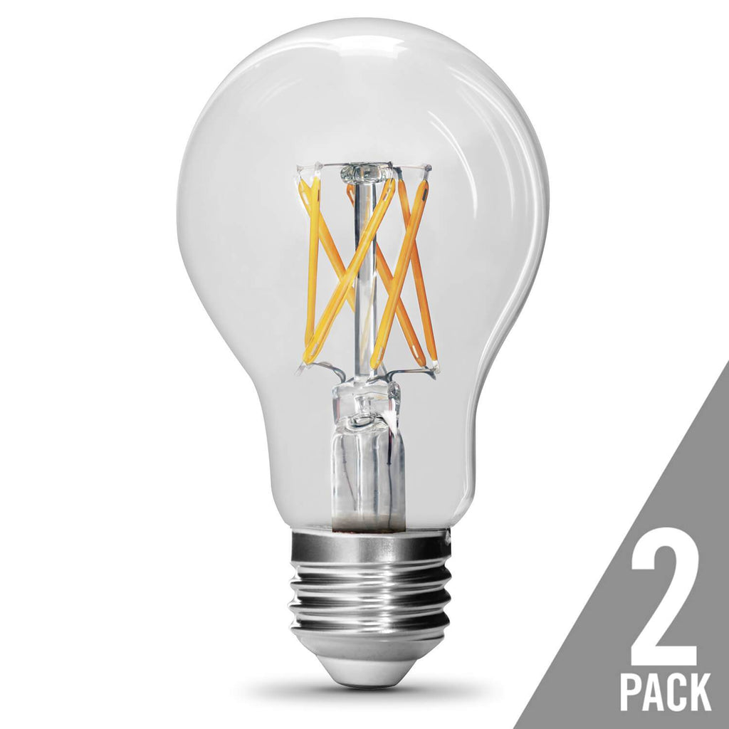 Feit Electric A19 Filament LED, 60 Watt Equiv., Dimmable, Clear, Medium Base, 800 Lumen, 5000K, 2 Pk