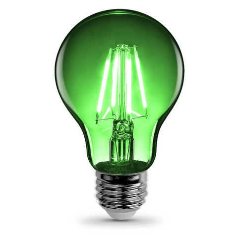 Feit Electric Filament Colored LED 3.6W, Med Base A19, Transparent Green