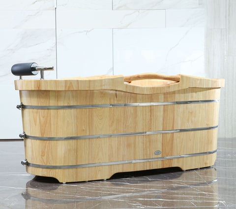 "61"" Free Standing Wooden Bathtub with Cushion Headrest"