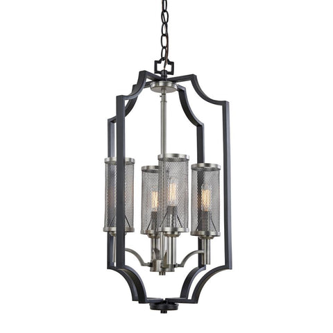 "Oxford 14""w Matte Black & Antique Nickel Chandelier"