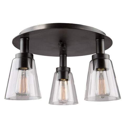 "Clarence 16.5""w Oil Rubbed Bronze Flush Mount"