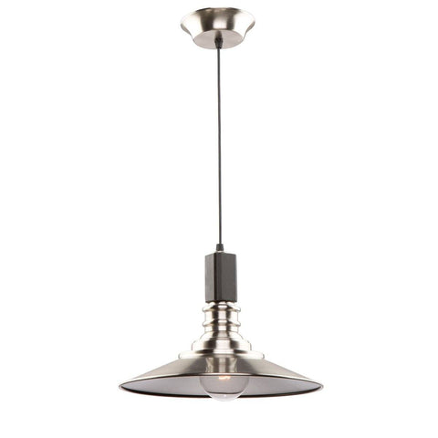"Ambrose 12""w Dark Wood & Brushed Nickel Pendant"