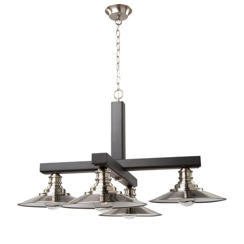 "Ambrose 31""w Dark Wood & Brushed Nickel Chandelier"