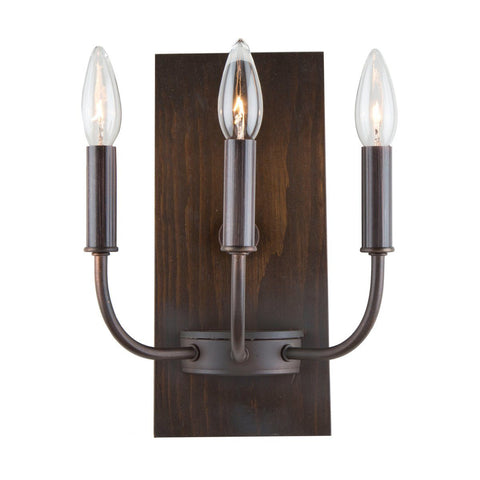 "Aberdeen 12""h Brunito Bronze & Light Wood Wall Light"