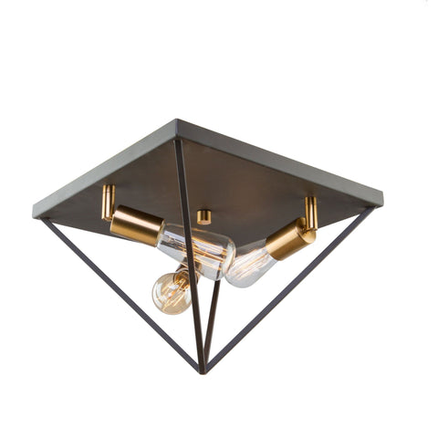 "Artistry 14""w Matte Black & Satin Brass Flush Mount"