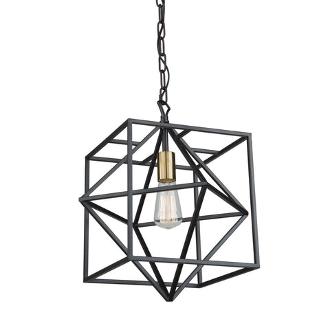 Roxton 15 in. wide Black and Brass Pendant
