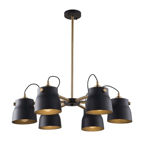Euro Industrial 30.75 in. wide Black and Brass Chandelier Ceiling Artcraft