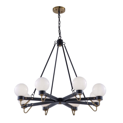 Chelton 35.5 in. wide Black and Brass Chandelier Ceiling Artcraft