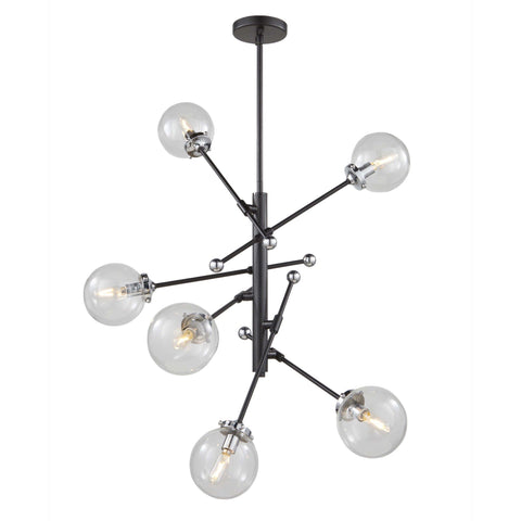 Vero Modo 28.75 in. wide Black and Chrome Chandelier Ceiling Artcraft
