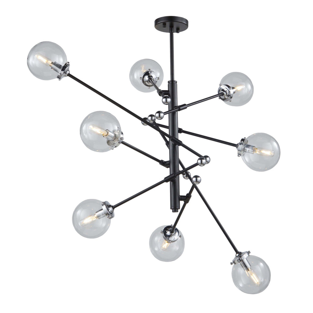 Vero Modo 43.5 in. wide Black and Chrome Chandelier Ceiling Artcraft