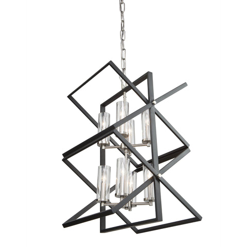 Vissini 18 in. wide Black and Polished Nickel Chandelier Ceiling Artcraft