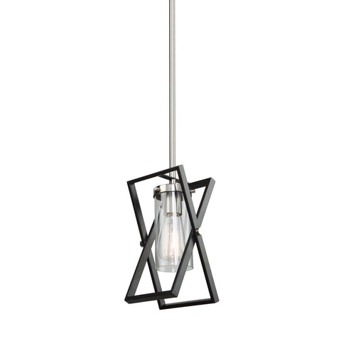 Vissini 6 in. wide Black and Polished Nickel Pendant