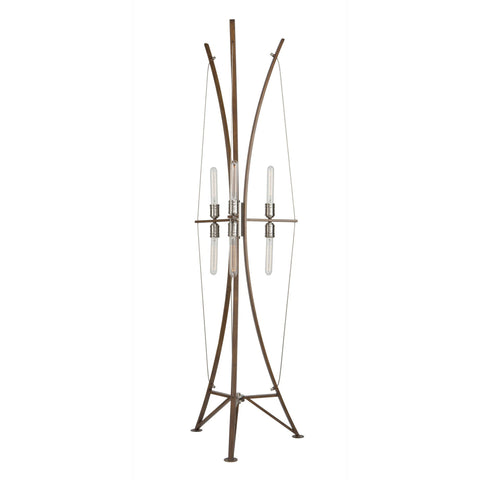 Arco 21 in. wide Wood and Brushed Nickel Floor Lamp