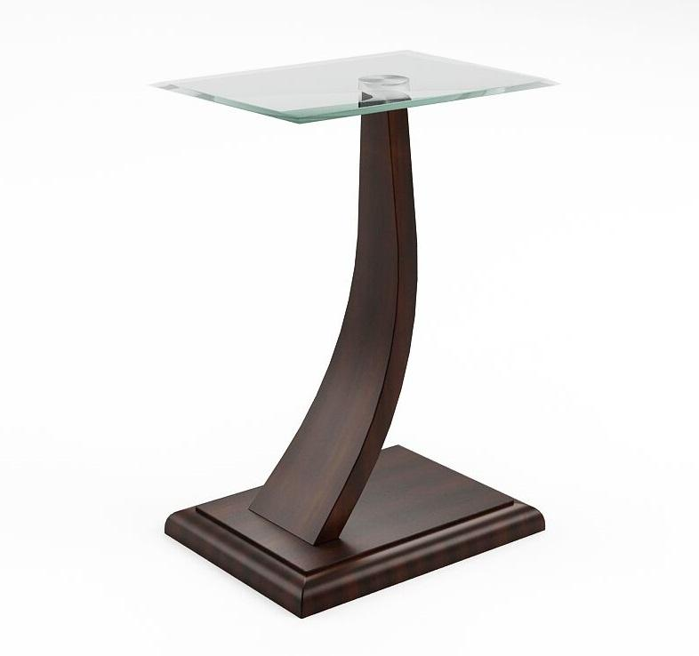 Forlen Modern Glass Top Side Table Dark Walnut Furniture Enitial Lab