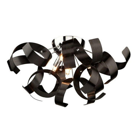 "Bel Air 19""w Metallic Black Ribbon Flush Mount"