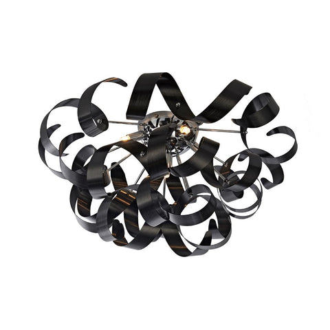 "Bel Air 23.5""w Metallic Black Ribbon Flush Mount Ceiling Artcraft"