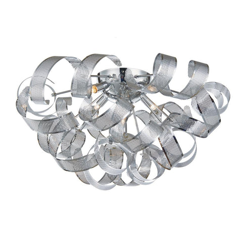 "Bel Air 23.5""w Chrome Mesh Ribbon Flush Mount Ceiling Artcraft"