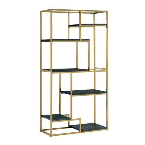 Lesle Modern Tiered 6-Shelf Bookcase Champagne Furniture Enitial Lab