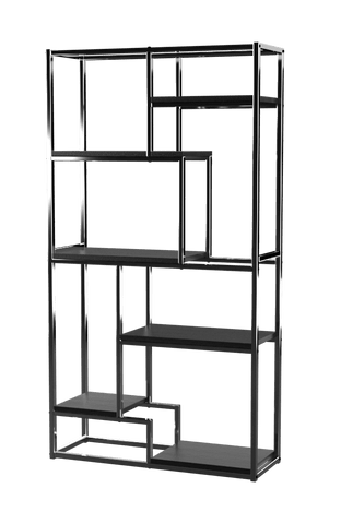 Lesle Modern Tiered 6-Shelf Bookcase Chrome Furniture Enitial Lab